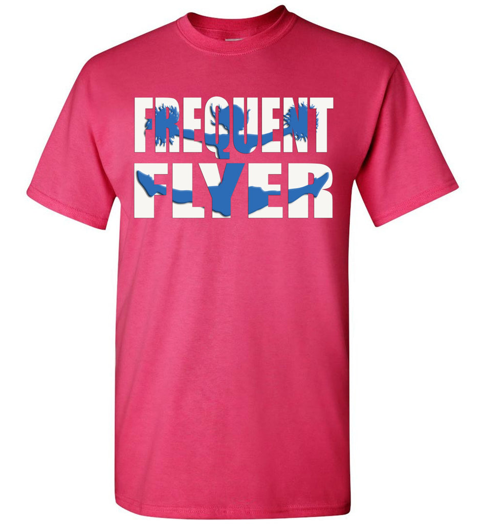 Frequent Flyer Cheer Flyer T Shirt - Blue youth pink