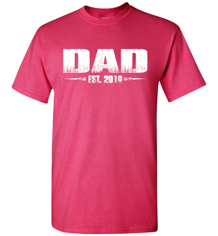 Dad EST. 2019 New Dad T-Shirts pink