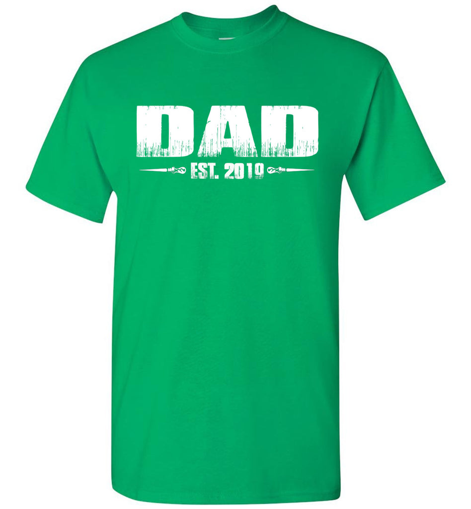 Dad EST. 2019 New Dad T-Shirts green