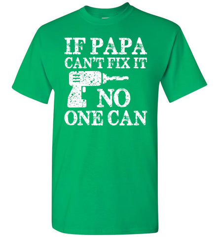 Image of If Papa Can't Fix It No One Can Papa Tshirts green