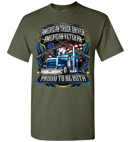 Image of American Truck Driver American Veteran Trucker T-Shirt military green