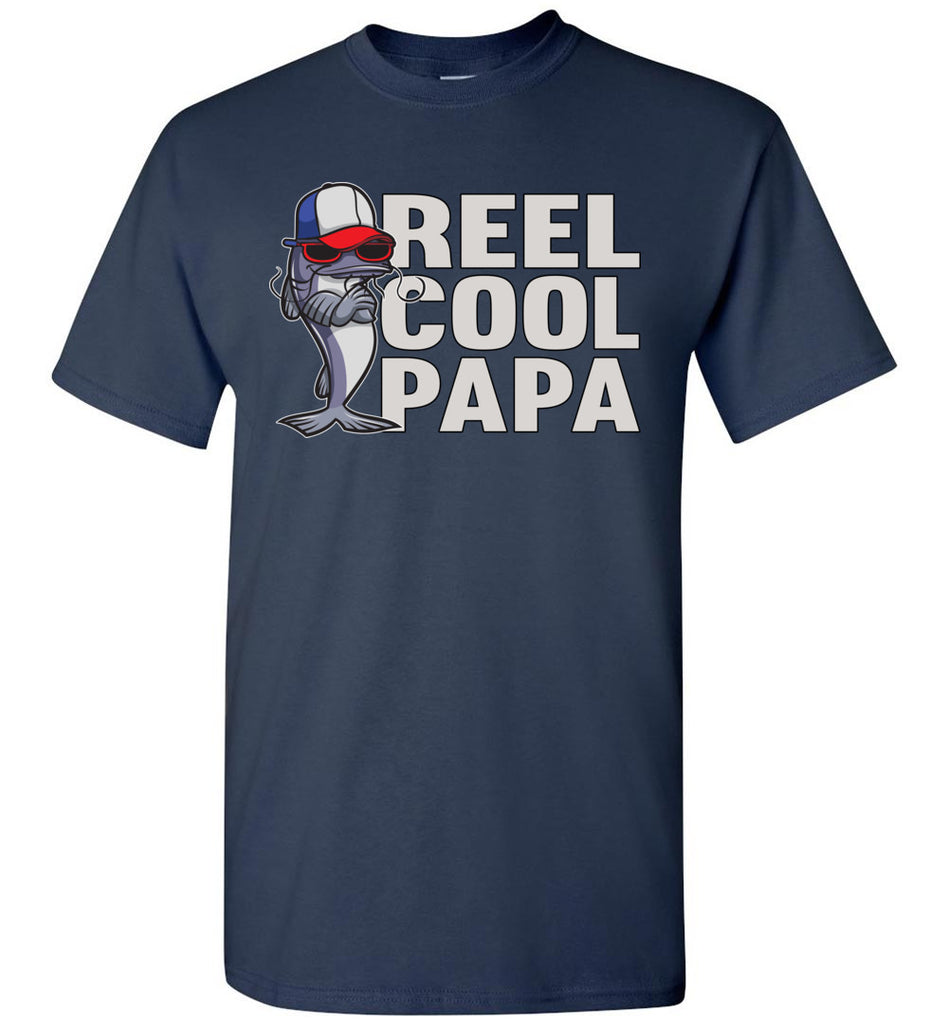 Reel Cool Papa Fishing Tee Shirts navy