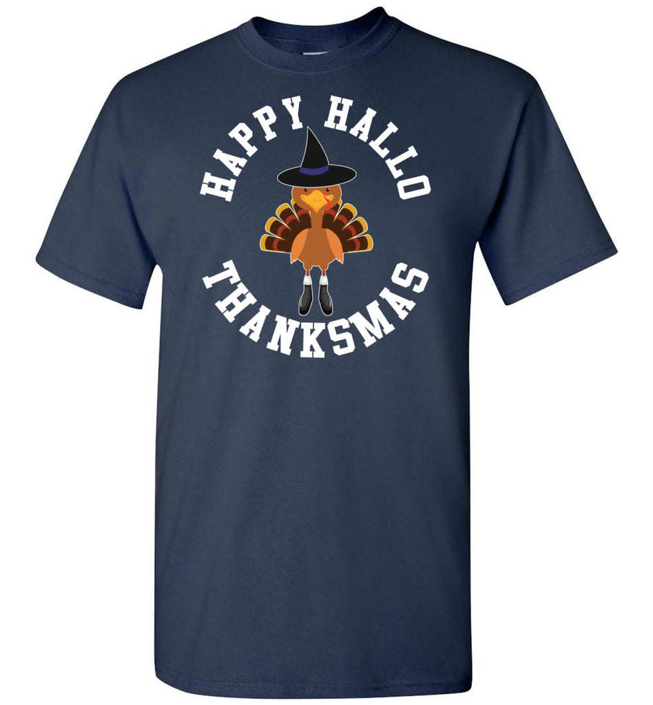Happy Hallo Thanksmas Funny Holiday Tee Shirt navy