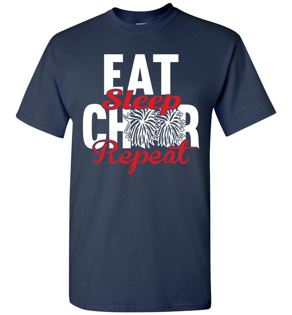 Eat Sleep Cheer Repeat Cheer Shirts unisex navy