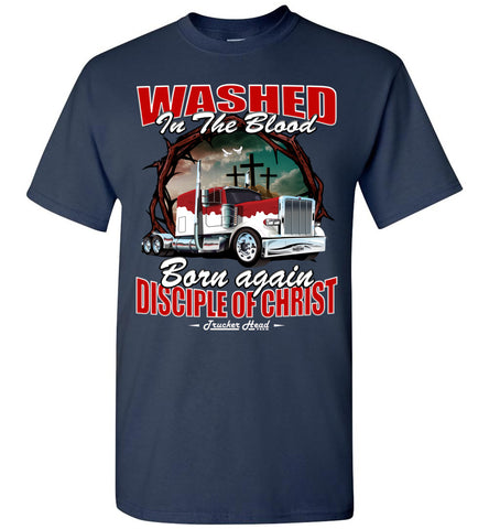 Image of Washed In The Blood Christian Trucker Shirts navy