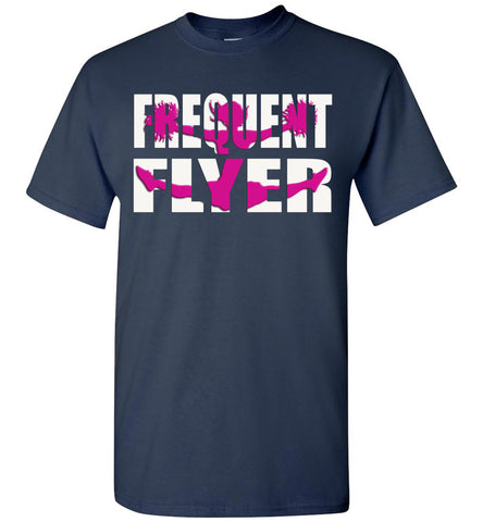 Image of Frequent Flyer Cheer Flyer T Shirt Pink Design youth navy