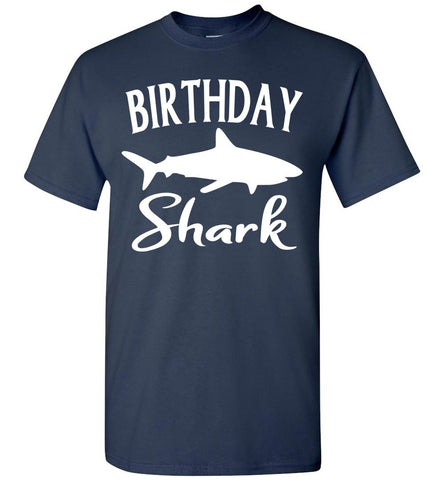 Image of Birthday Shark Shirt unisex  navy