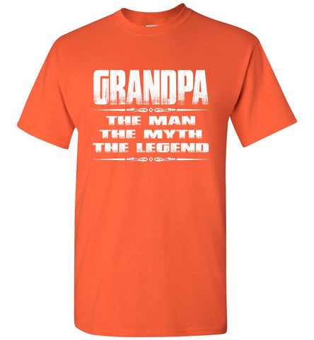 Image of Grandpa The Man The Myth The Legend T Shirt orange