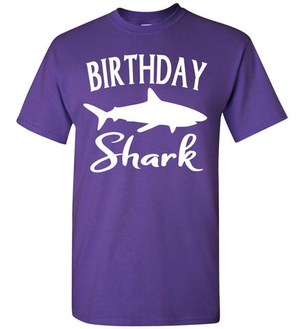 Image of Birthday Shark Shirt unisex purple