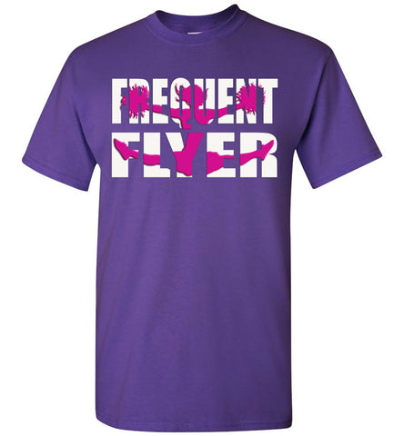 Image of Frequent Flyer Cheer Flyer T Shirt Pink Design youth purple