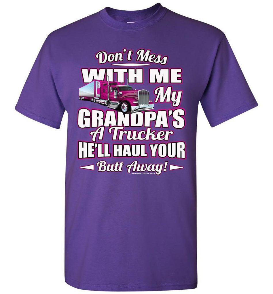 Don't Mess With Me My Grandpa's A Trucker Kid's Trucker Tee Pink Design Youth  purple
