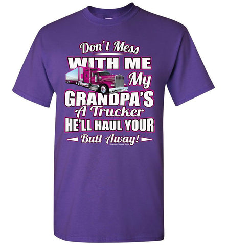 Image of Don't Mess With Me My Grandpa's A Trucker Kid's Trucker Tee Pink Design Youth  purple