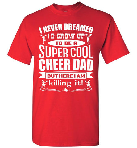 Super Cool Cheer Dad T Shirt red