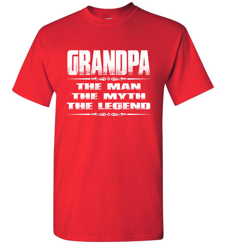 Image of Grandpa The Man The Myth The Legend T Shirt red