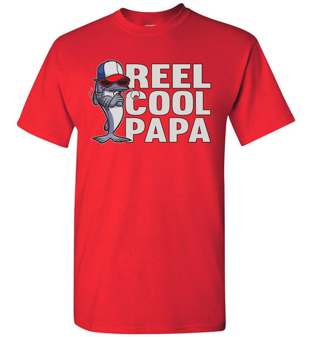 Image of Reel Cool Papa Fishing Tee Shirts red