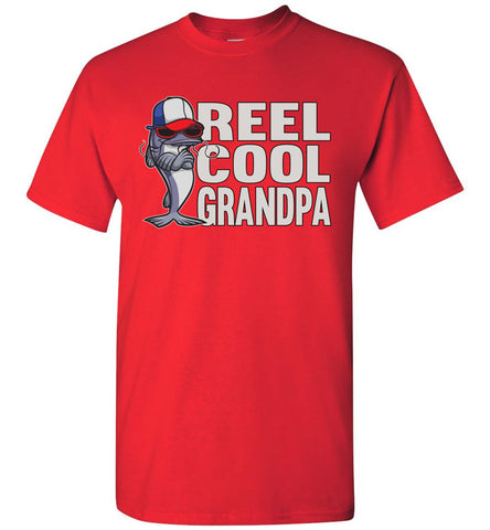 Reel Cool Grandpa Fishing Shirt red