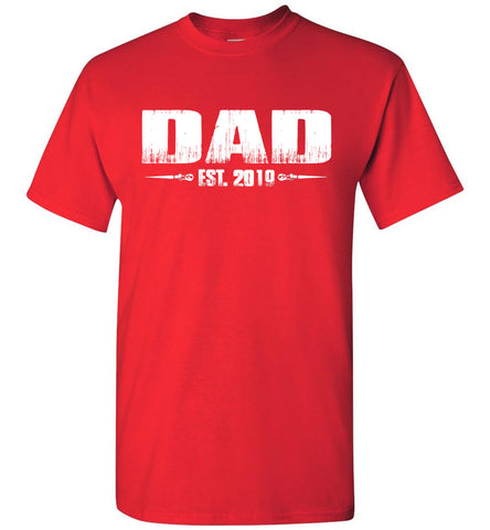 Image of Dad EST. 2019 New Dad T-Shirts red