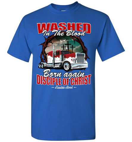 Image of Washed In The Blood Christian Trucker Shirts royal