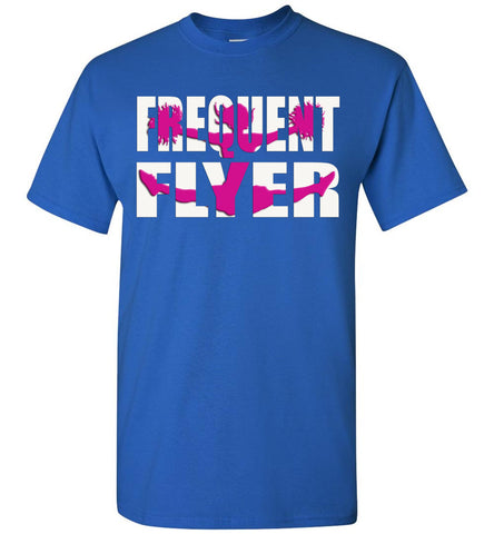 Image of Frequent Flyer Cheer Flyer T Shirt Pink Design youth royal