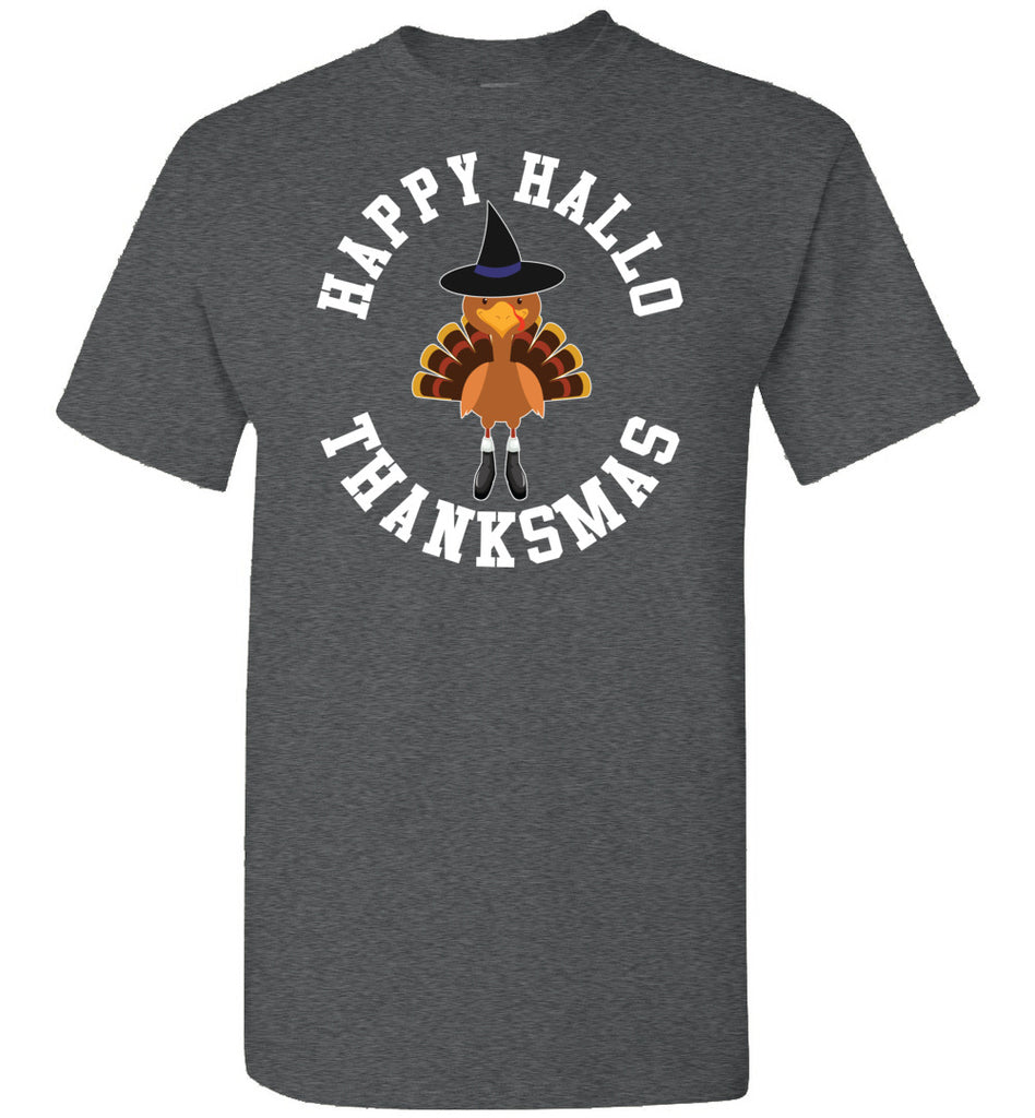 Happy Hallo Thanksmas Funny Holiday Tee Shirt dark heather