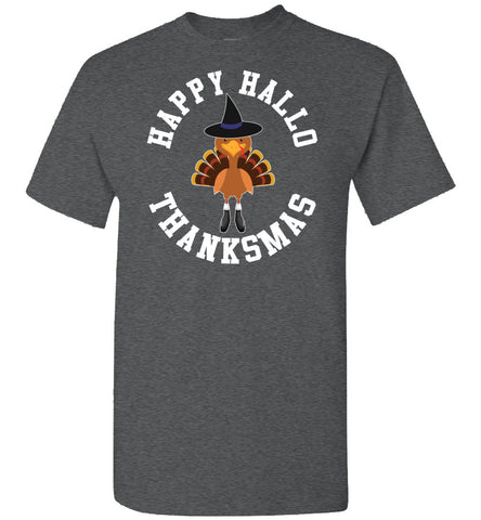 Image of Happy Hallo Thanksmas Funny Holiday Tee Shirt dark heather