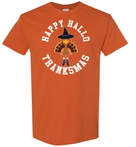 Image of Happy Hallo Thanksmas Funny Holiday Tee Shirt Texas orange