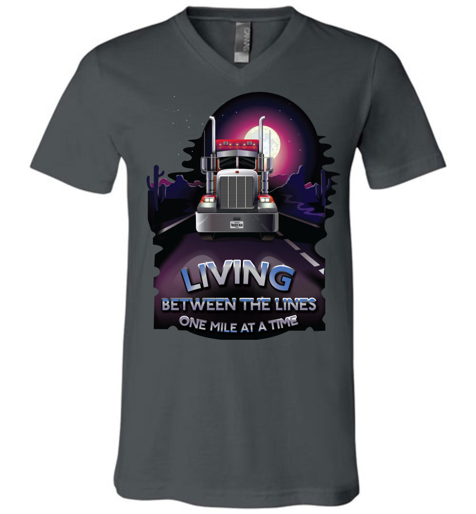 Trucker Shirts, Living Between The Lines Trucker T Shirts v-neck charcoal