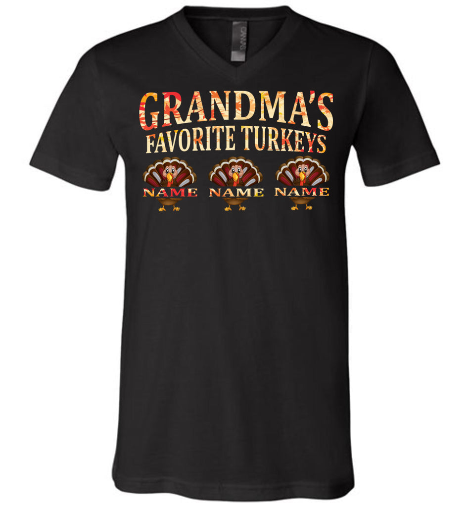 Grandma's Favorite Turkeys Funny Fall Shirts Funny Grandma Shirts black v-neck