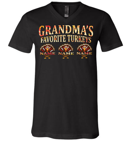 Image of Grandma's Favorite Turkeys Funny Fall Shirts Funny Grandma Shirts black v-neck