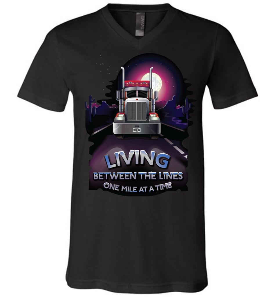 Trucker Shirts, Living Between The Lines Trucker T Shirts v-neck black