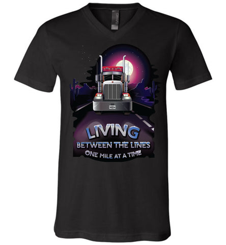 Image of Trucker Shirts, Living Between The Lines Trucker T Shirts v-neck black