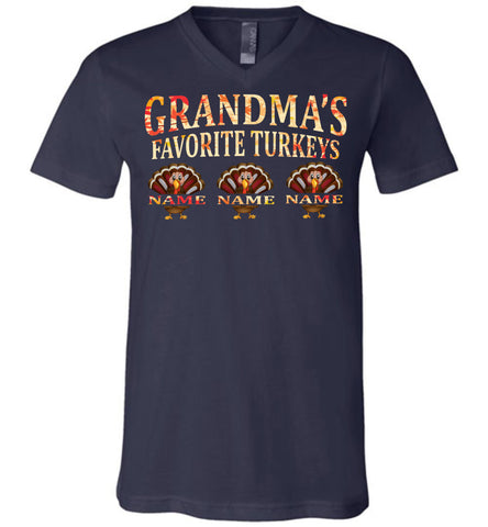Image of Grandma's Favorite Turkeys Funny Fall Shirts Funny Grandma Shirts v-neck navy