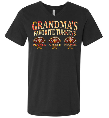 Image of Grandma's Favorite Turkeys Funny Fall Shirts Funny Grandma Shirts v-nck dark gray