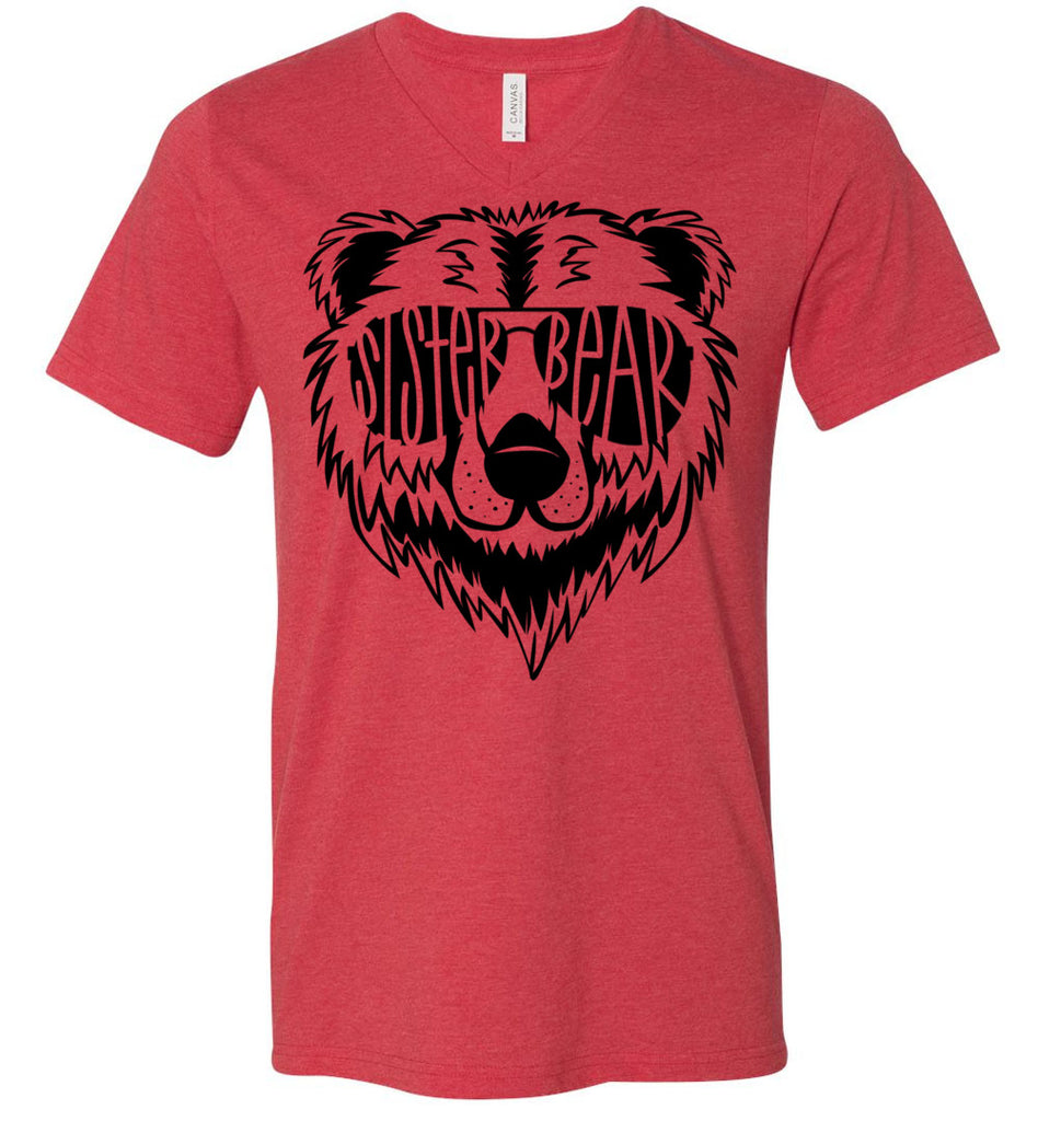 Sister Bear Shirt v-neck  heather red