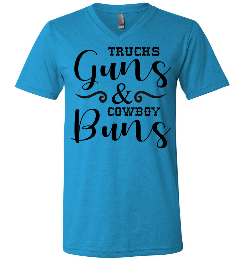 Trucks Guns And Cowboy Buns Country Cowgirl Girl T Shirts v-neck  neon blue