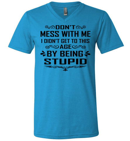 I Didn't Get To Be This Age By Being Stupid Funny T Shirts v-neck blue