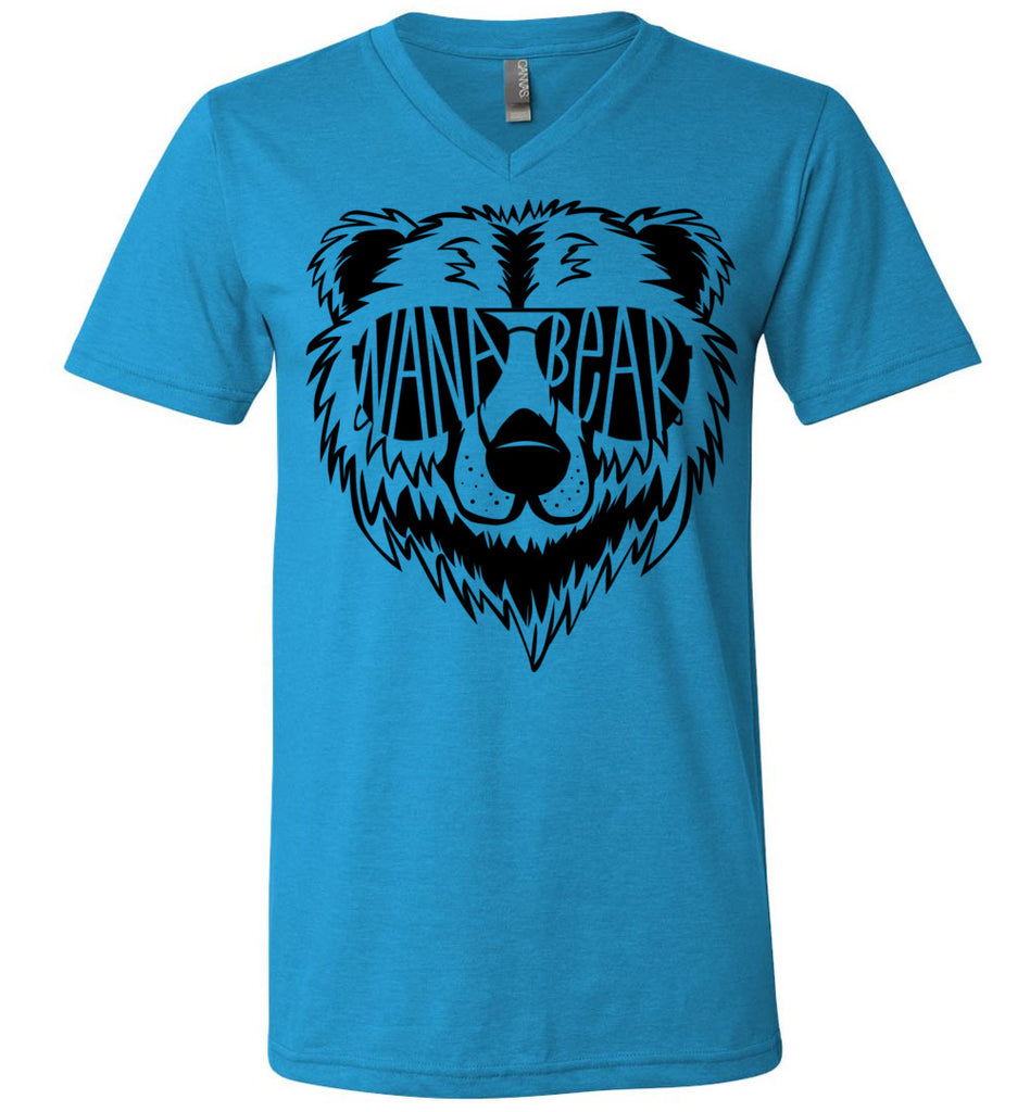 Nana Bear Shirt v-neck  neon blue