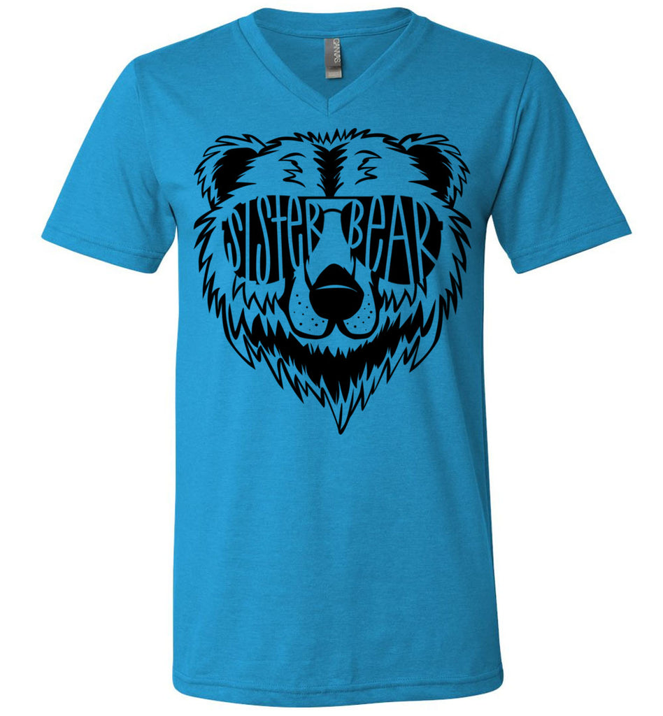 Sister Bear Shirt v-neck neon blue