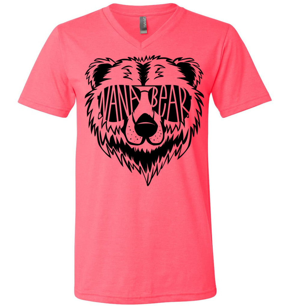 Nana Bear Shirt v-neck  neon pink