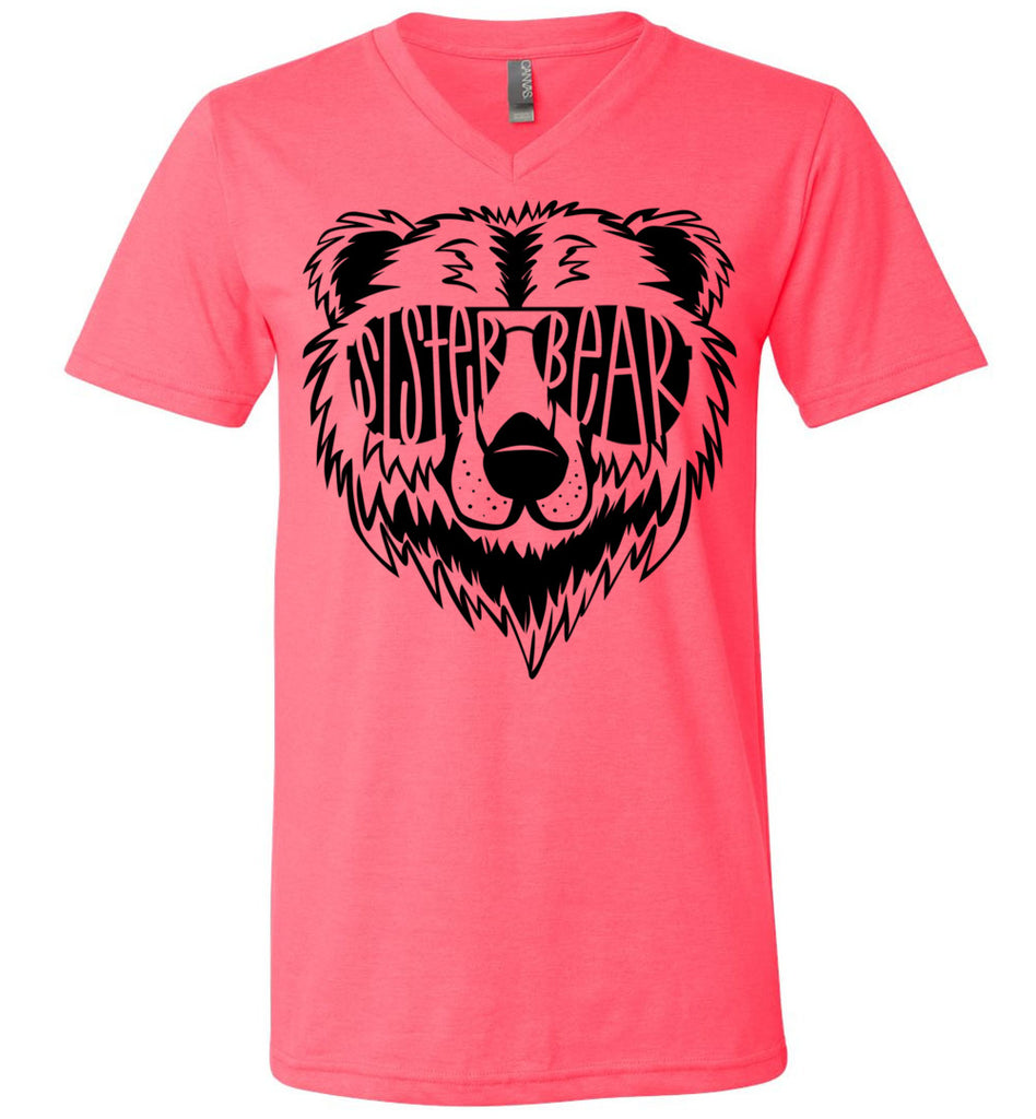 Sister Bear Shirt v-neck  neon pink