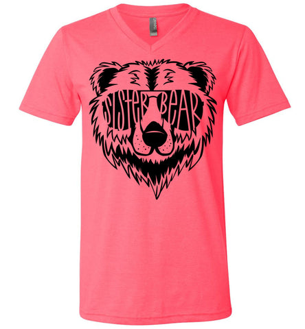 Image of Sister Bear Shirt v-neck  neon pink