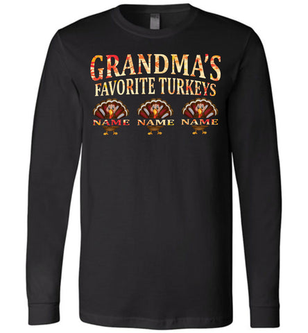 Image of Grandma's Favorite Turkeys Funny Fall Shirts Funny Grandma Shirts LS premium black