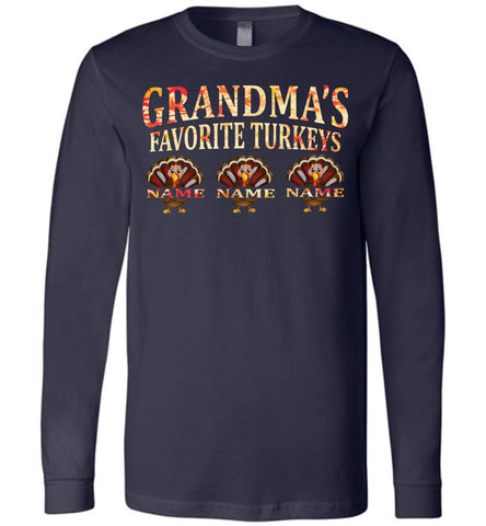 Image of Grandma's Favorite Turkeys Funny Fall Shirts Funny Grandma Shirts LS premium navy
