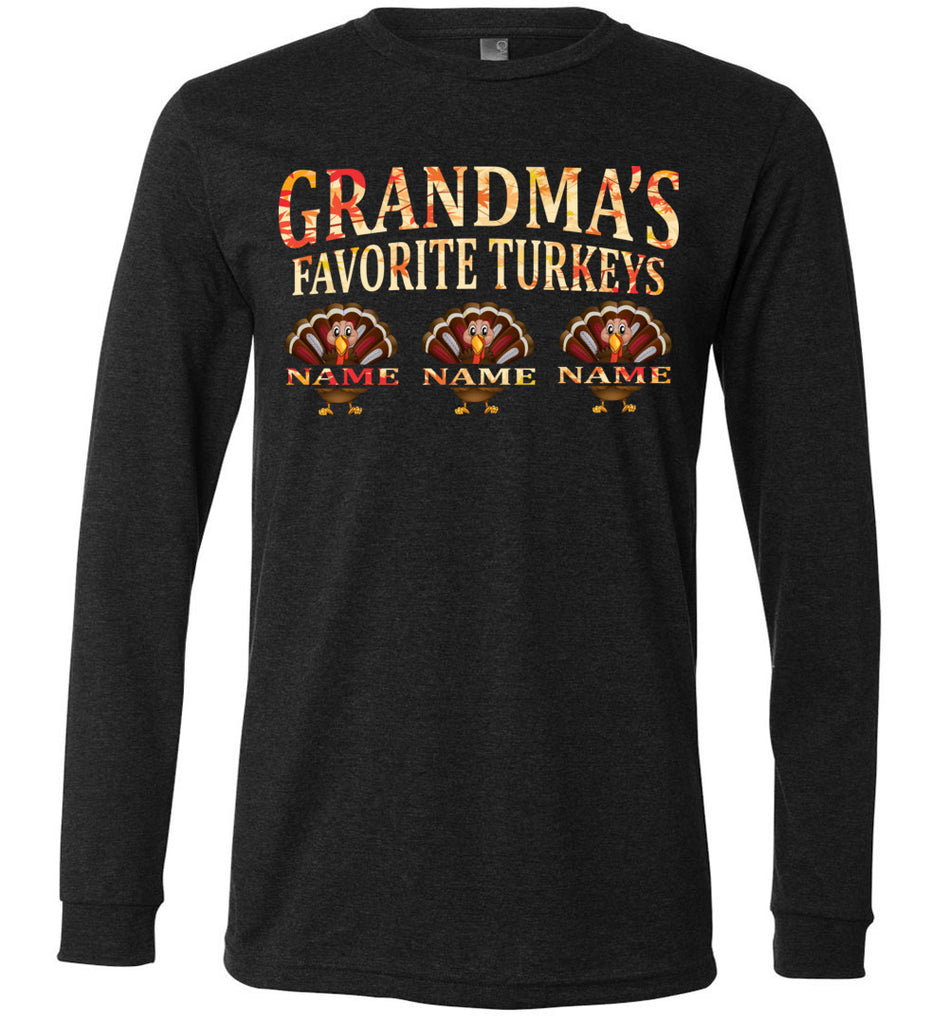 Grandma's Favorite Turkeys Funny Fall Shirts Funny Grandma Shirts LS premium dark gray heather