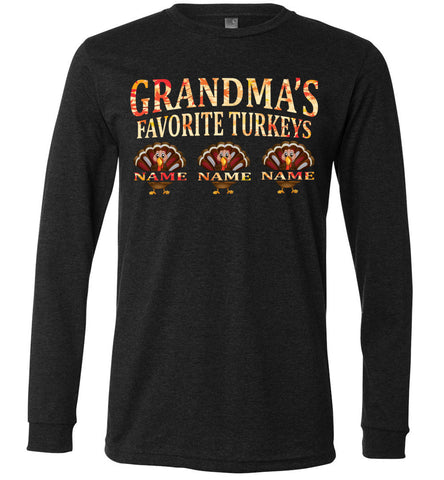 Image of Grandma's Favorite Turkeys Funny Fall Shirts Funny Grandma Shirts LS premium dark gray heather