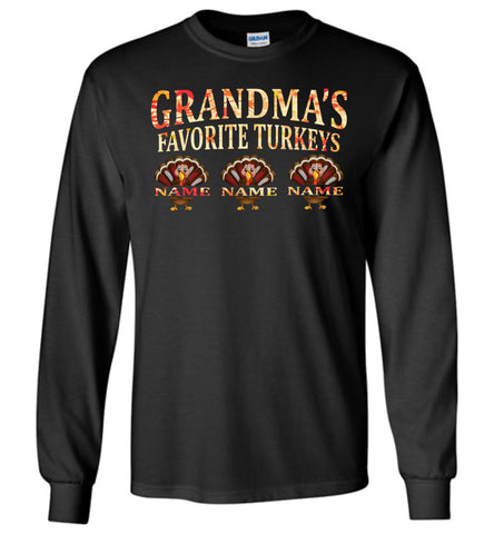 Image of Grandma's Favorite Turkeys Funny Fall Shirts Funny Grandma Shirts LS black