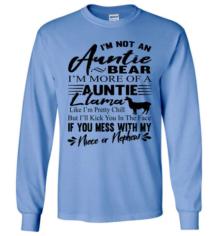 Auntie Llama Shirt | Auntie Bear Shirt | Funny Aunt Long Sleeve Shirts Carolina blue