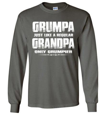 Image of Grumpa Funny Grandpa Long Sleeve Shirts | Grandpa Gag Gifts charcoal