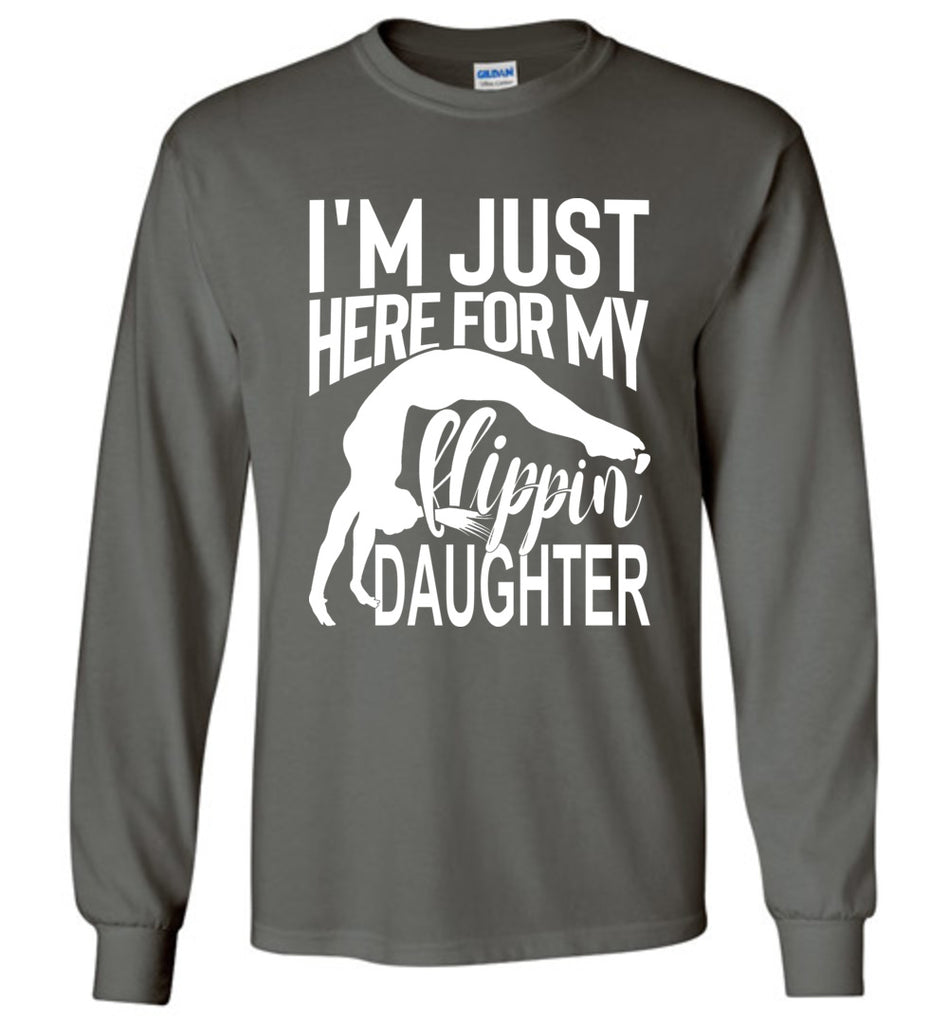 Flippin' Daughter Funny Gymnastics Mom Shirts | Gymnastics Dad Shirt Long sleeve charcoal