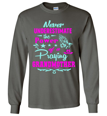 Image of Never Underestimate The Power Of A Praying Grandmother Long Sleeve Tee charcoal